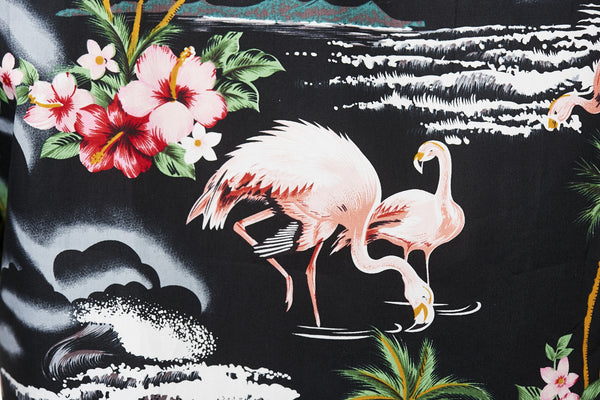 Hawaii skjorte - Sort m. Flamingoer og palmer 3