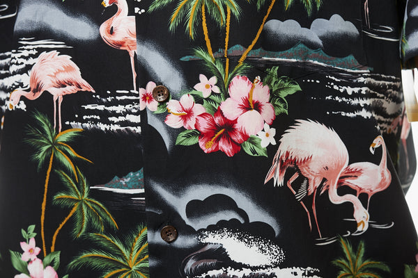 Hawaii skjorte - Sort m. Flamingoer og palmer 6