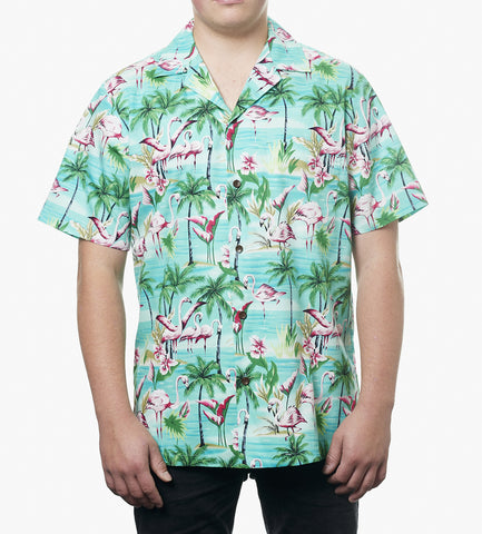 Hawaii skjorte - Turkis m. Flamingoer og palmer 1