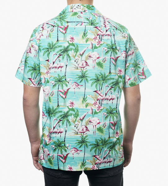 Hawaii skjorte - Turkis m. Flamingoer og palmer 2
