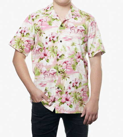 Hawaii skjorte - Pink m. Flamingoer 1