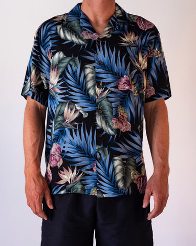 Hawaii Skjorte rayon sort og blå