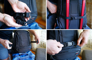 Using the Gatekeeper waist strap to secure the Synik to rolling luggage