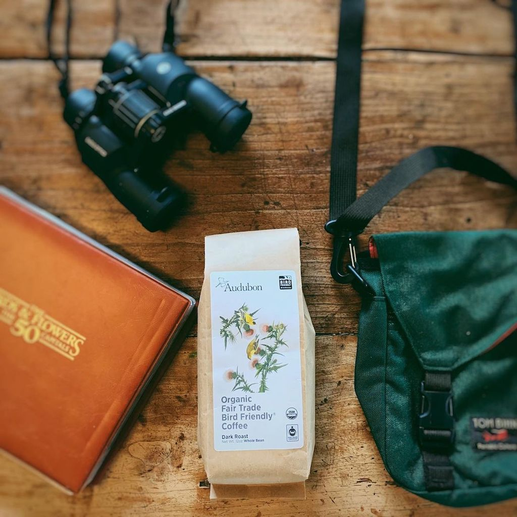 Photo of a rare Mini Cafe Bag produced especially for birding. This photo was shared by @audubon_coffee on Instagram.