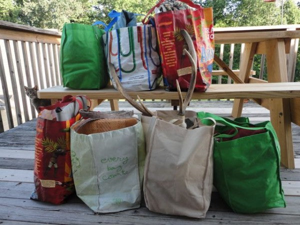 "binje's bags full of stuff to be donated.  ""At this point, we have three more old grocery bags to fill."""