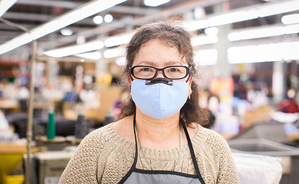 Edelmira has had success wearing our Reusable Cloth Face Mask without her glasses fogging up; your mileage may vary.