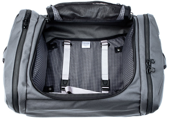 Removable tie-down or compression straps are included with the Aeronaut travel bag