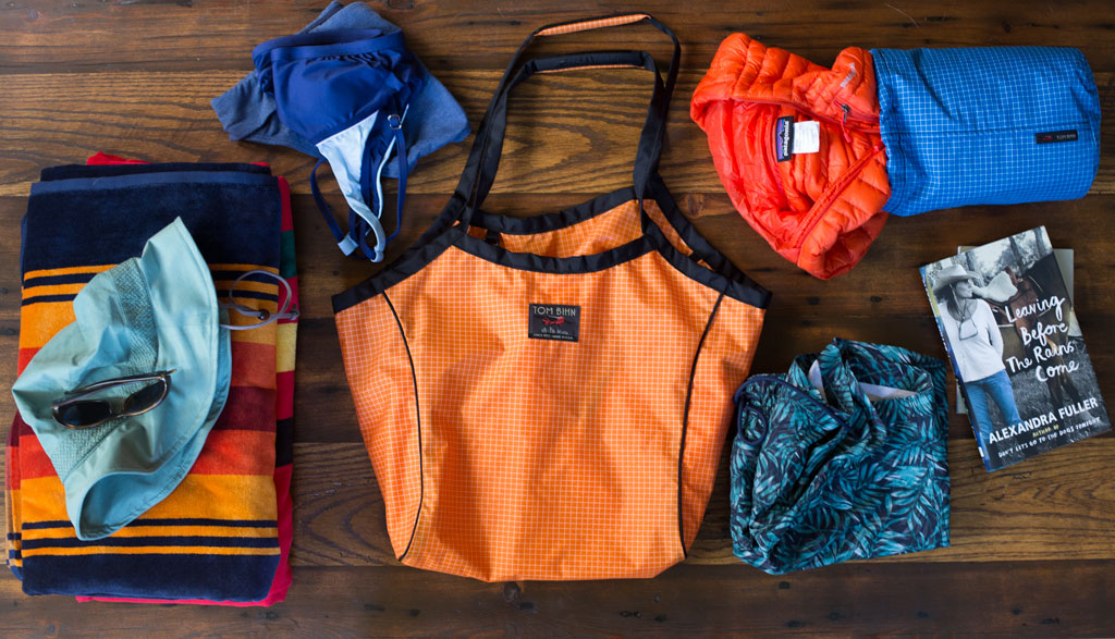 Pacific Northwest Beach Bag: Swimsuits and Down Jackets and a Shop Bag in Zest | TOM BIHN