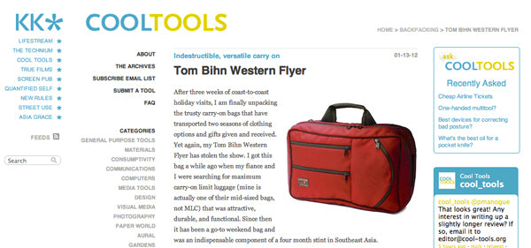 Cool Tools review of the TOM BIHN Western Flyer travel bag