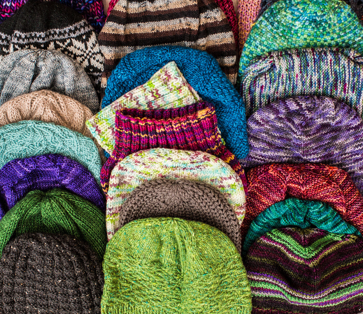 Hats knitted by the TOM BIHN Ravelry group for the TOM BIHN Crew