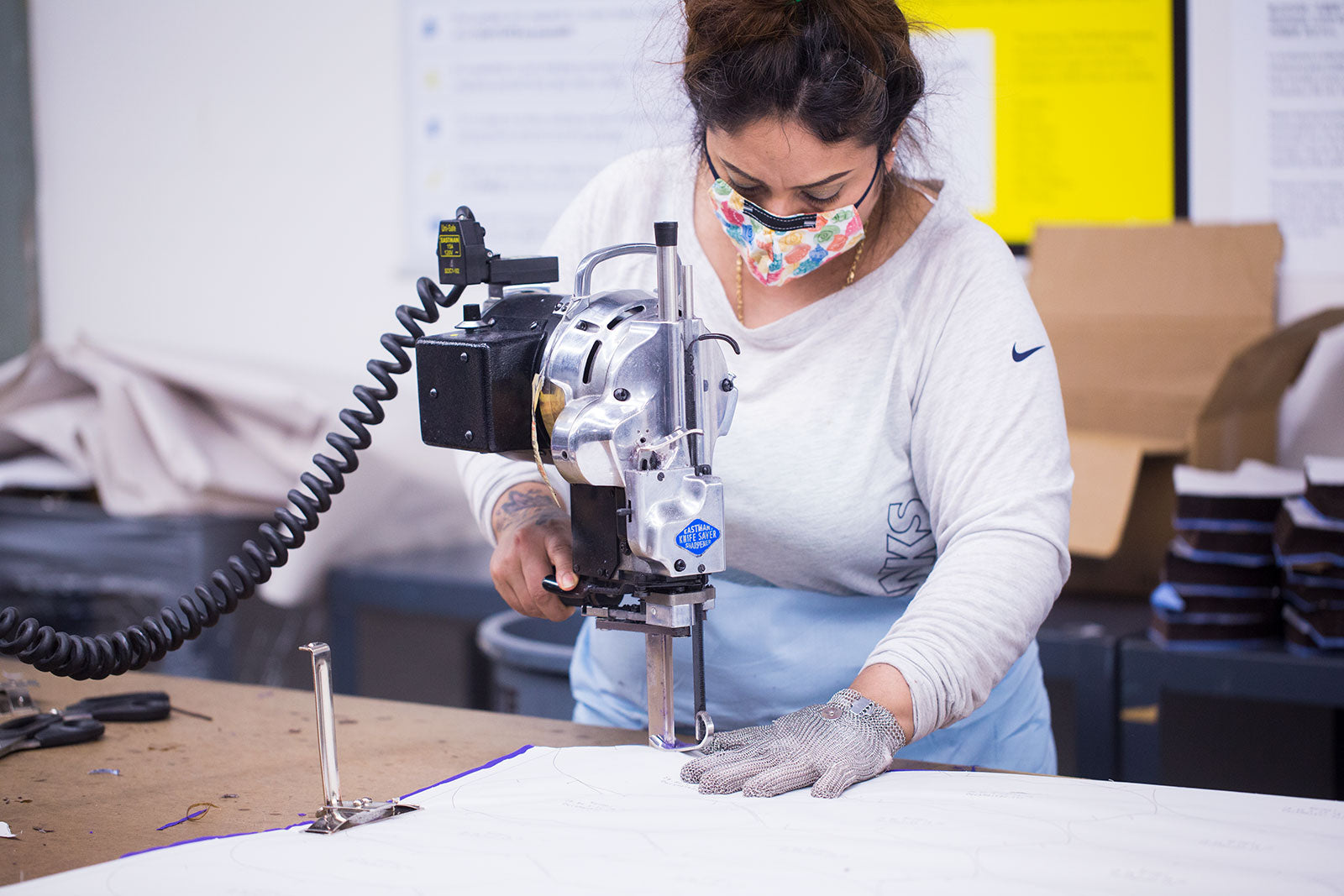 Irma cutting at the Seattle Factory