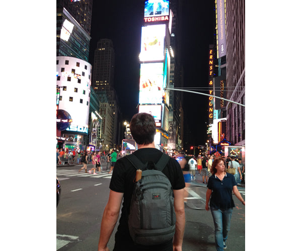 Jeff's photo of our Synapse backpack in Times Square