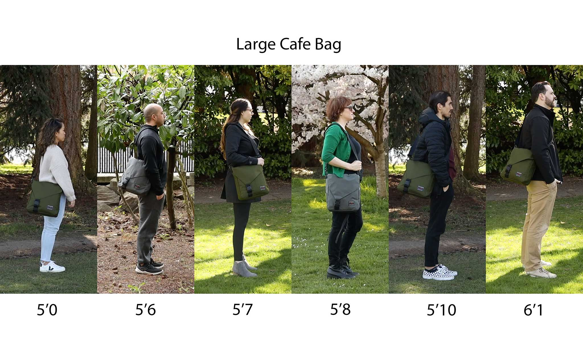 Large Cafe Bag being worn by people of various heights standing side-by-side