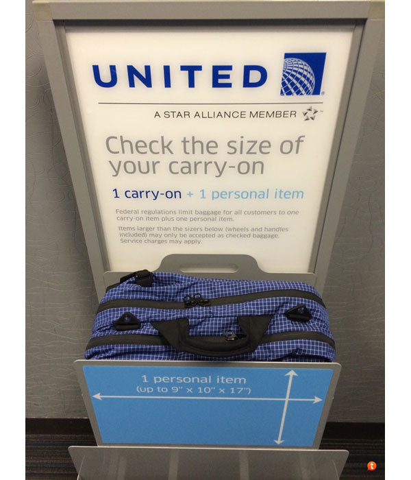 TOM BIHN | Western Flyer fits United's personal item sizer