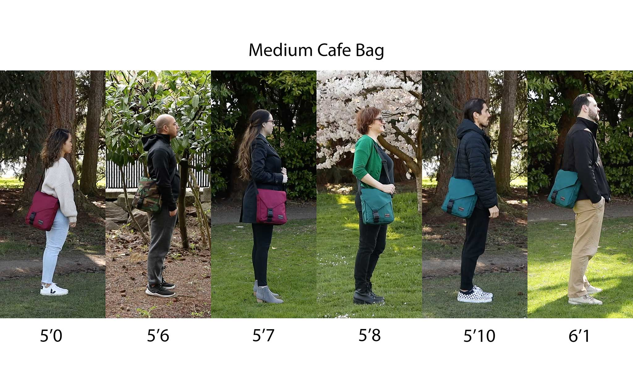 Medium Cafe Bag worn side-by-side by people of various heights