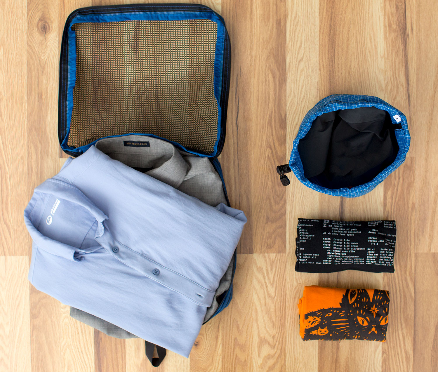 Use Packing Cubes for folded or bundled clothes and Stuff Sacks for rolled or compressible clothes