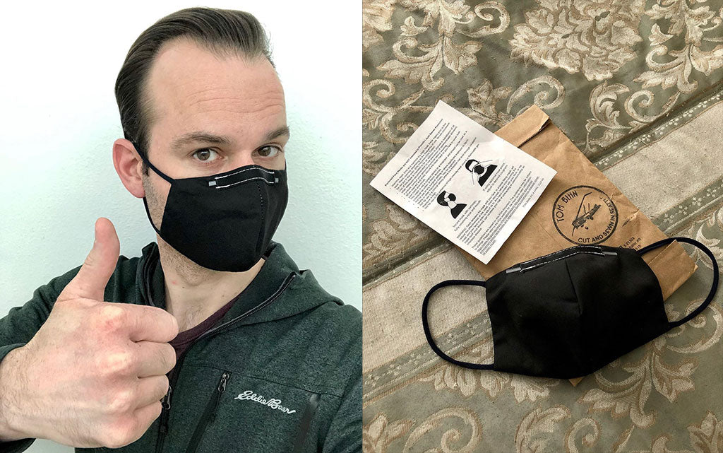 Eric wearing the Reusable Cloth Face Mask that he ordered from us; size Original.