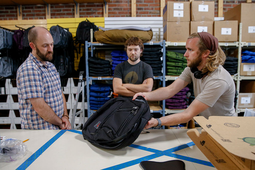 Synik Pre-Production Batch Meeting at the TOM BIHN factory