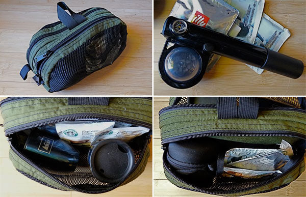 Snake Charmer by TOM BIHN as a travel espresso kit