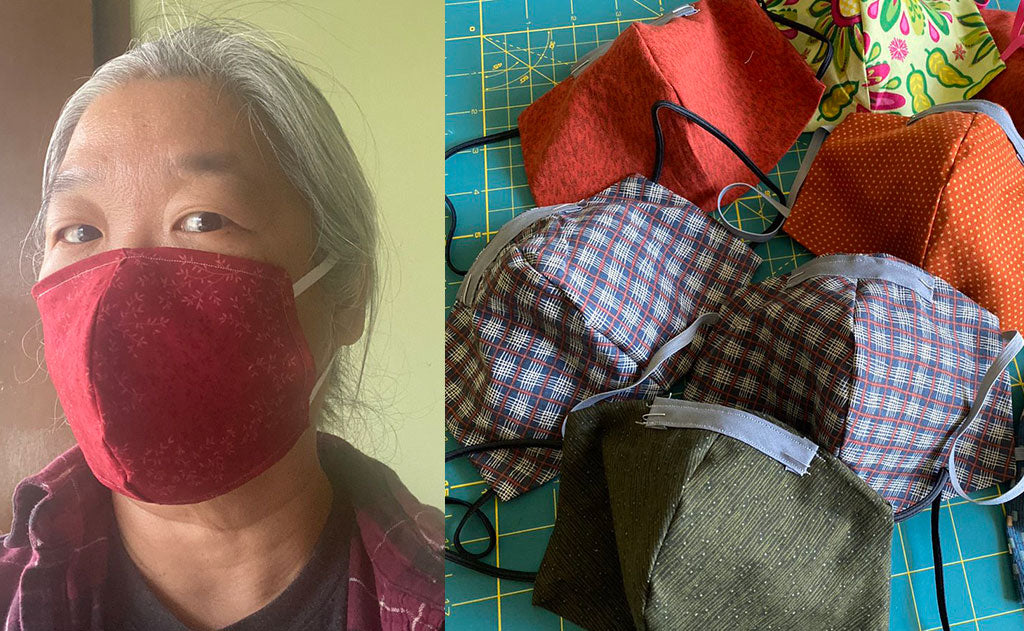 Masks sewn at home using our pattern by @tvolcheck