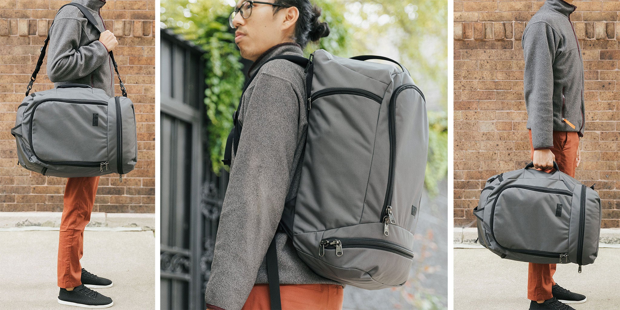 The Techonaut can be carried as a shoulder bag, duffel, or as a backpack.