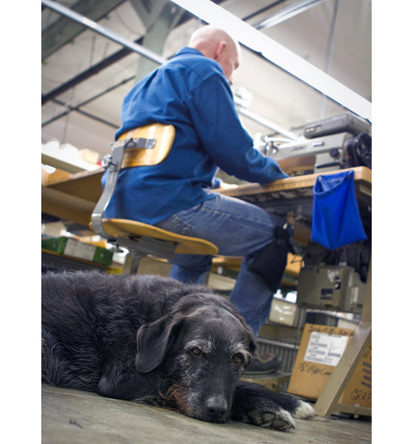 Tom Bihn (with Riley) works late on a new bag design