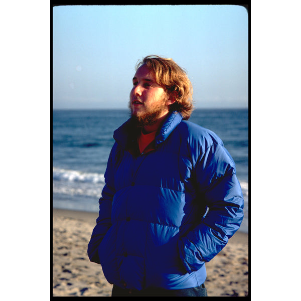 Tom Bihn in 1977 wearing one of the down jackets he made