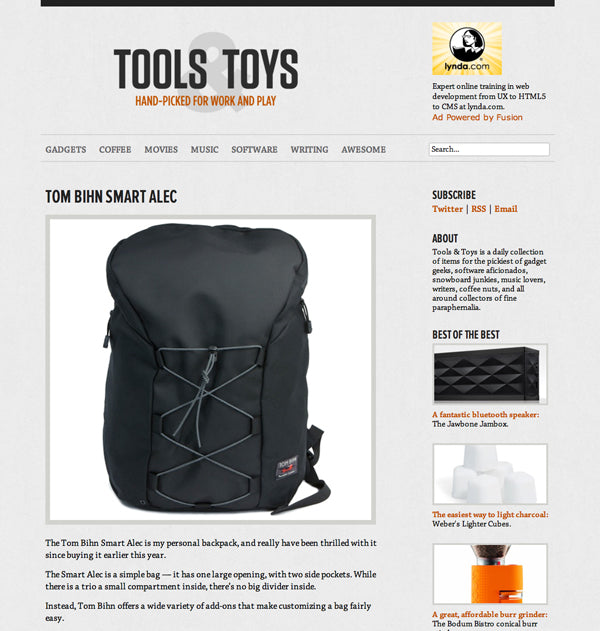 Tools and Toys on the TOM BIHN Smart Alec backpack