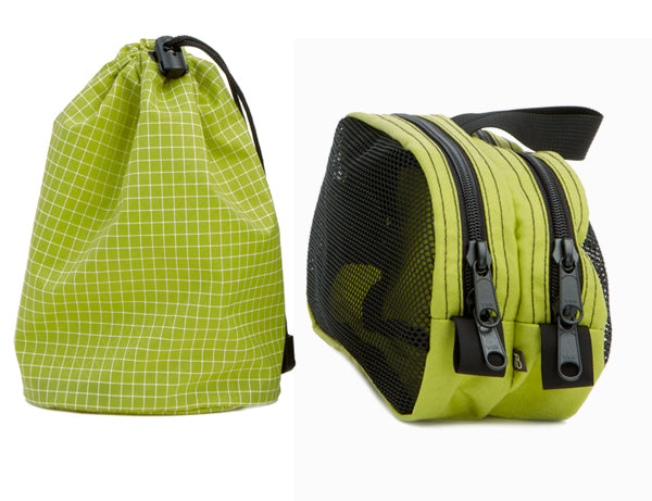 Travel Stuff Sack in Wasabi Dyneema/nylon and Snake Charmer in Wasabi 500d Cordura