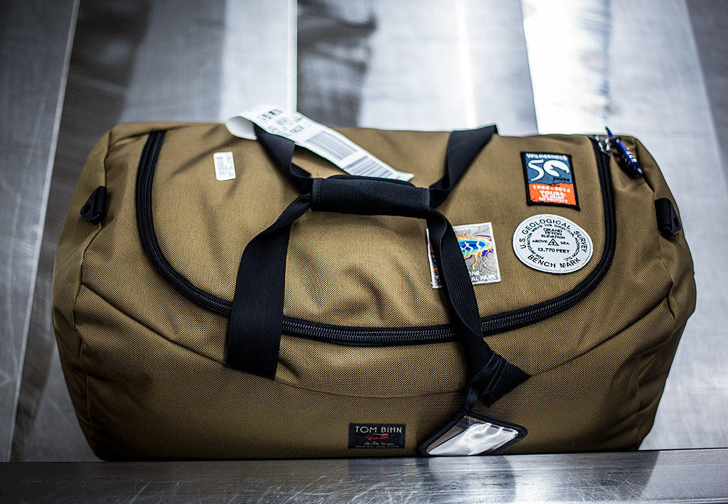 Sewing National Park Patches on the TOM BIHN Yeoman Duffel Bag