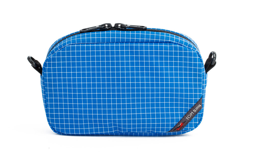 An all-fabric Island blue with white grid pattern 3D Organizer Cube.