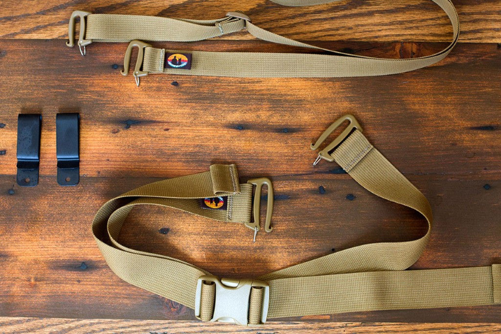 Belt clips, Citizen Canine hip belt, and Citizen Canine shoulder strap