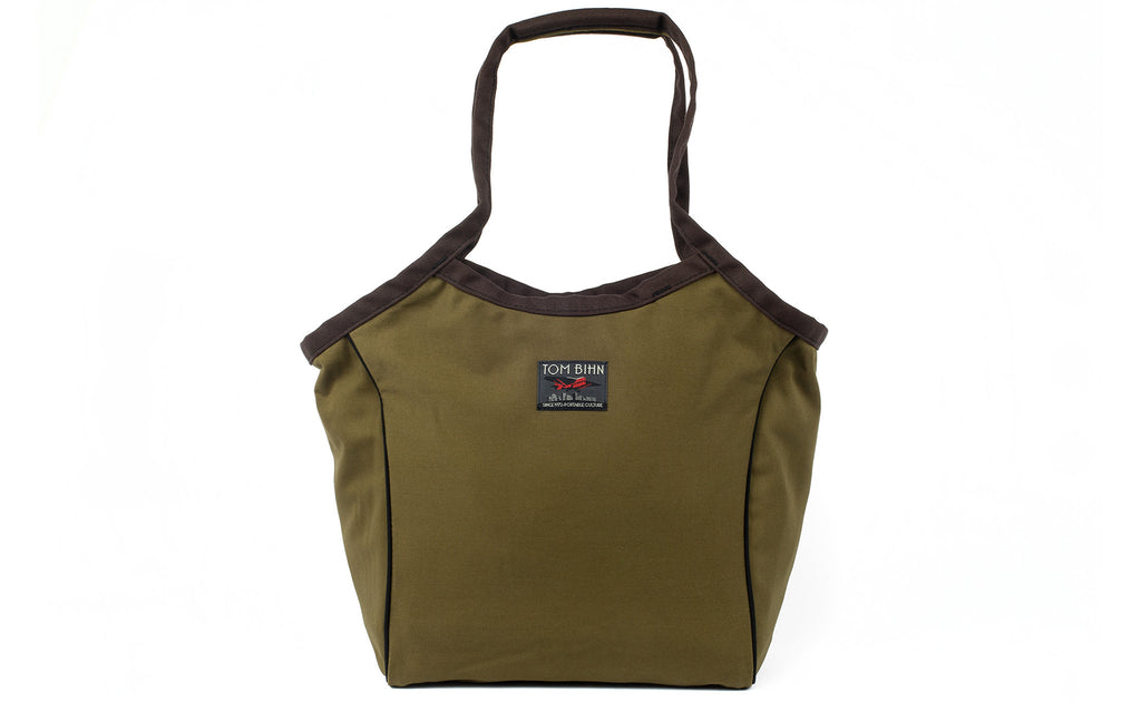 The Original Large Shop Bag in Olive Cotton Twill.
