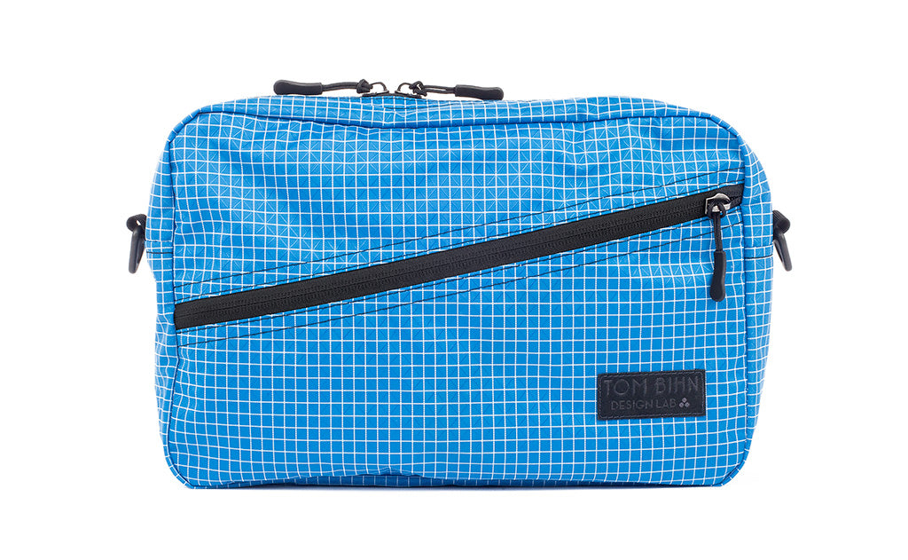 A Packing Cube Shoulder Bag in Island (blue with white grid) 200 Halcyon.