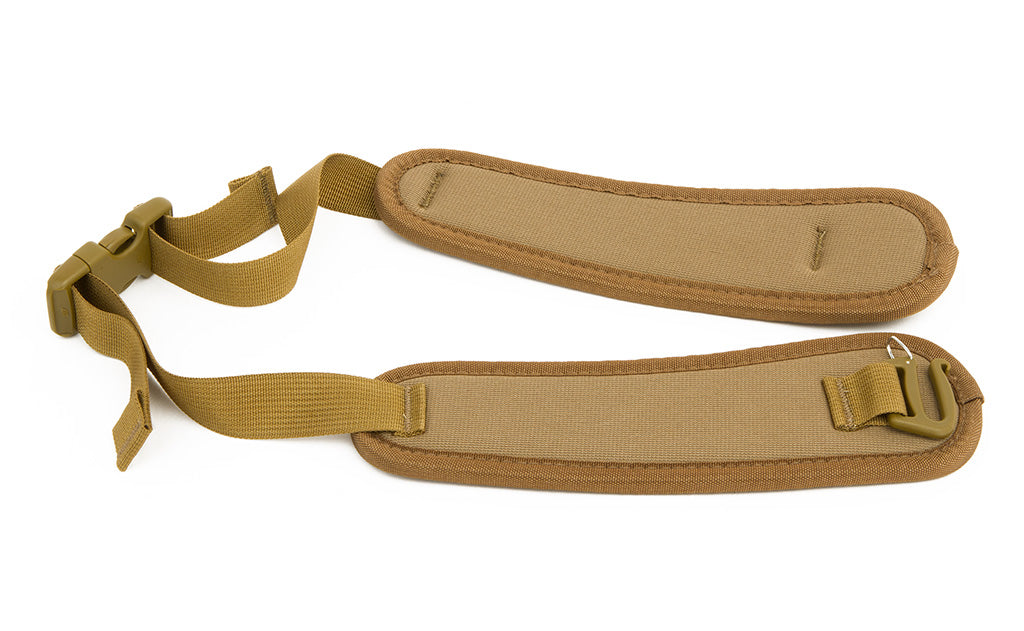 A Coyote brown Padded Hip Belt with a one-inch gatekeeper clip.