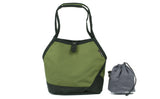 A Swift in Verde (green) 1050 Ballistic with Steel (dark grey with white grid) 200 Halcyon interior and Yarn Stuff Sack.