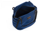 An above shot of the Pop Tote in Deep Blue (dark blue) 525 Ballistic with the main compartment open.