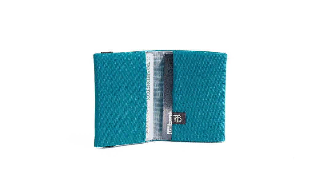 The Size 1 Nik's Minimalist Wallet in Viridian (blue-green) 210 Ballistic.