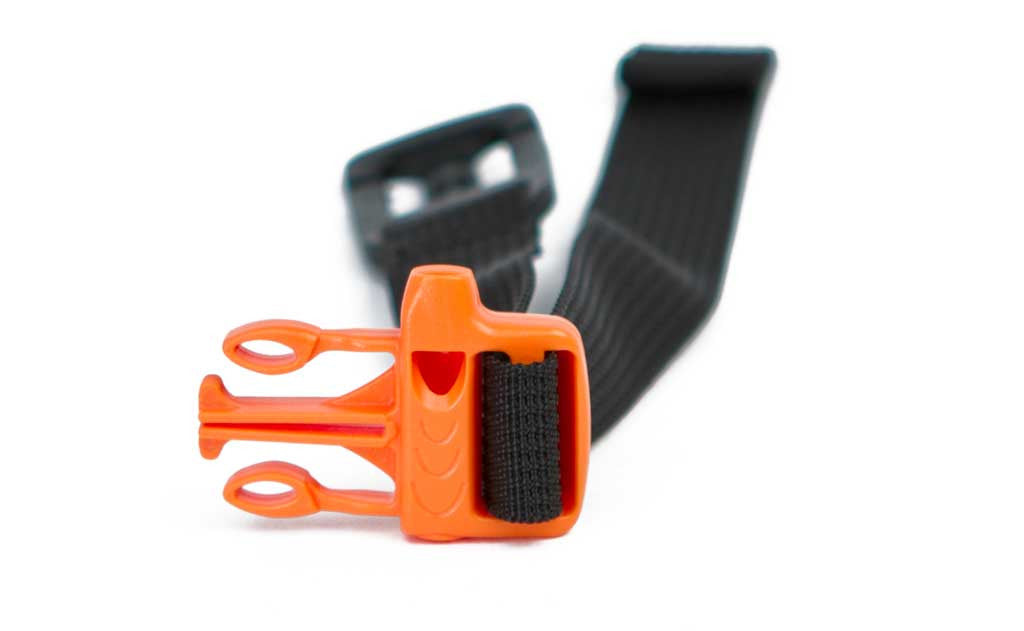 The molded whistle and attachment clip of the whistle sternum strap in Orange, made of HDPE.