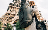 Visiting the Eiffel Tower with the Aeronaut 45 and a shoulder bag.