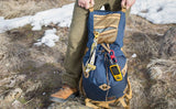 A Large Double Carabiner connecting a GPS to a Guide's Pack.