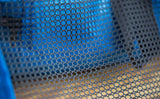 The mesh is a wide, cubic mesh that allows visibility and air to pass through.