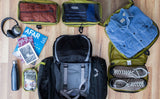 An example of an average loadout for the Aeronaut 45 is one Large Packing Cube, two Small Packing Cubes, an End Pocket Packing Cube, a 3D Organizer Cube, a reusable water bottle, a couple books, a magazine, and a pair of folding headphones.