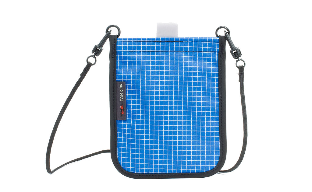 The Passport Pouch in Island (blue with white grid) 200 Halcyon.