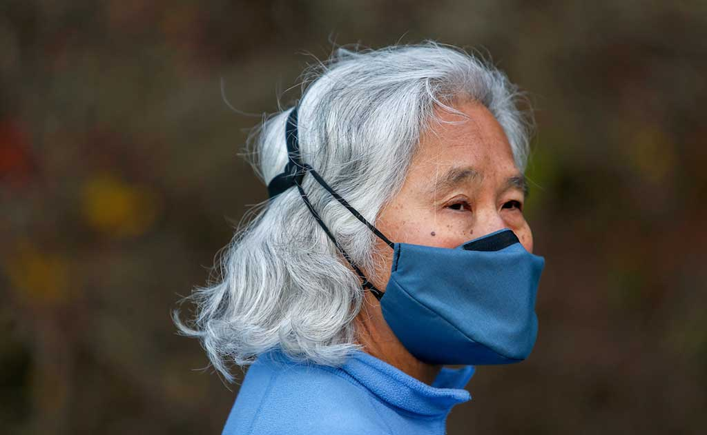 Person wearing Mask Head Strap with V6 mask