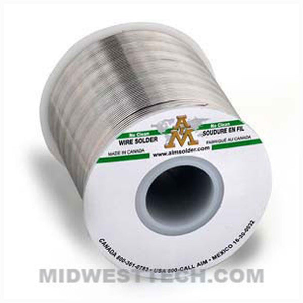 "AIM Solder - 13368 | SN63, No-Clean Wire Solder, GlowCore 2% Flux, 0.015"" dia - .5 lb Roll"