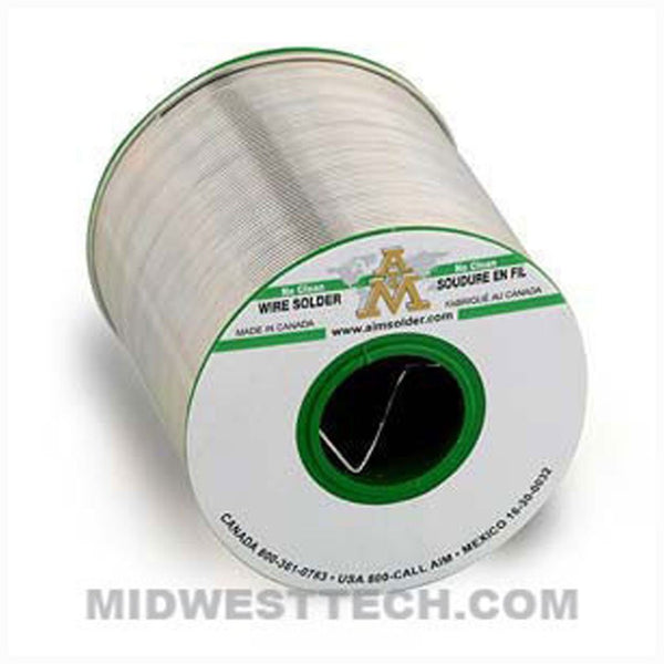 "AIM Solder - 14099 | SAC305 Lead-Free, No-Clean Wire Solder, GlowCore 2.5% Flux, 0.015"" dia - .5 lb Roll"