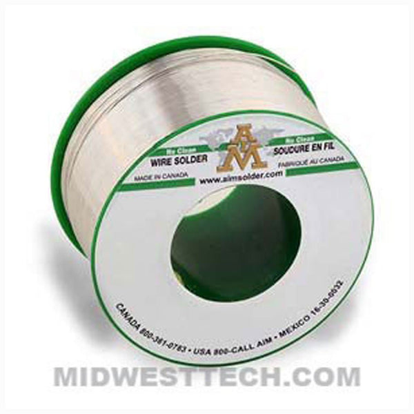 "AIM Solder - W305-FC-2.5-15-1/2 | SAC305 Lead-Free, No-Clean Wire Solder, FastCore 2.5% Flux, 0.015"" dia - .5 lb Roll"