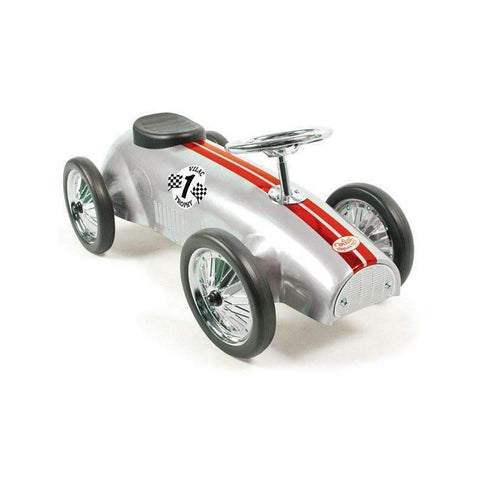 Ride-On Racing Car in Silver