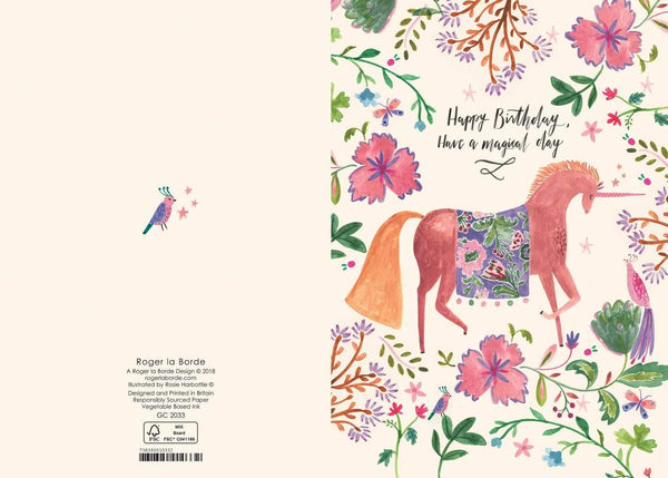 Roger La Borde,Magical Unicorn Birthday Greeting Card,CouCou,Crafts & Stationary